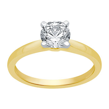 Ever Star Womens 1 1/2 CT. T.W. Lab Grown White Diamond 14K Gold Round Solitaire Engagement Ring