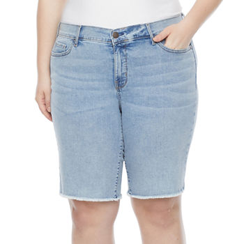 a.n.a-Plus Womens High Rise Raw Hem Denim Bermuda