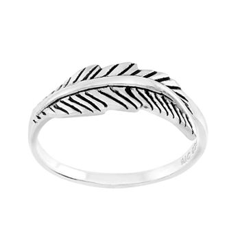 Itsy Bitsy Sterling Silver Feather Pinky Ring