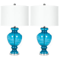 Yadira Morocco Blue Glass Table Lamp- Set of 2