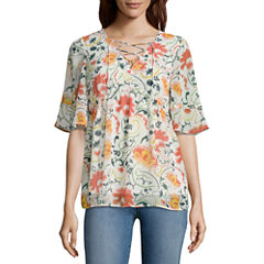 St. John's Bay Short Sleeve Y Neck Woven Floral Blouse