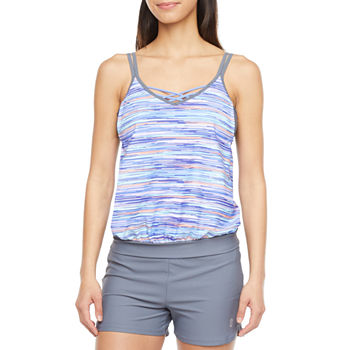 Free Country Striped Blouson Swimsuit Top