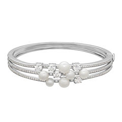 Certified Sofia™ Bridal Cultured Freshwater Pearl & Swarovski® Cubic Zirconia Sterling Silver Bracelet
