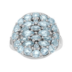 Genuine Blue Topaz Sterling Silver Cluster Ring