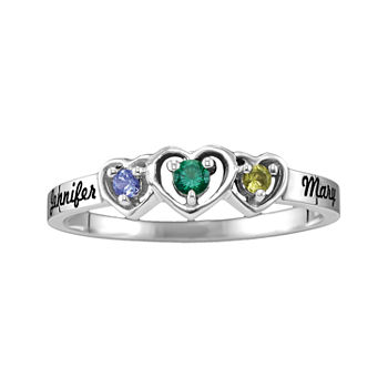 Womens Genuine Multi Color Stone Sterling Silver Heart 3-Stone Cocktail Ring