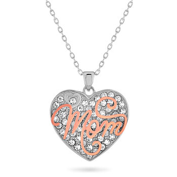 """Mom"" Womens White Crystal 18K Rose Gold Over Silver Sterling Silver Heart Pendant Necklace"