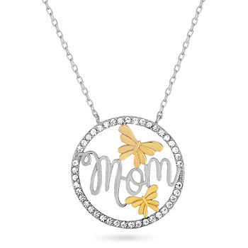 Womens White Crystal 18K Gold Over Silver Sterling Silver Round Pendant Necklace