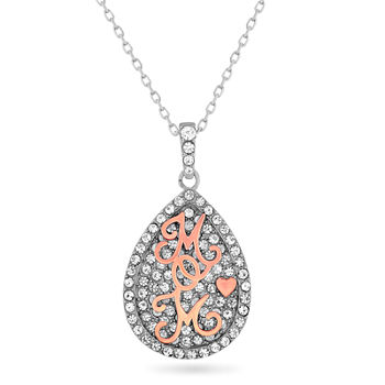 """Mom"" Womens White Crystal 18K Rose Gold Over Silver Sterling Silver Pear Pendant Necklace"