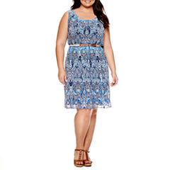 Alyx Sleeveless Paisley Sheath Dress-Plus