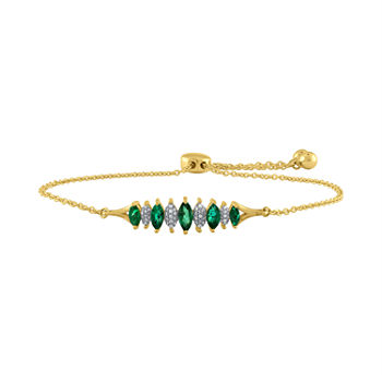 Genuine Green Emerald 10K Gold Bolo Bracelet