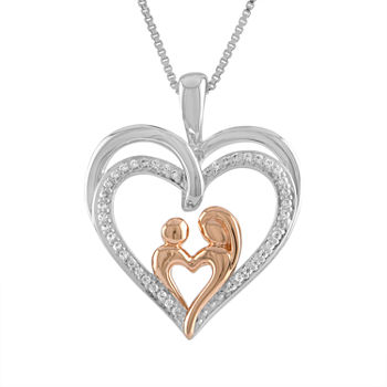 """Mother And Daughter"" Womens 1/10 CT. T.W. Genuine White Diamond 14K Rose Gold Over Silver Sterling Silver Heart Pendant Necklace"