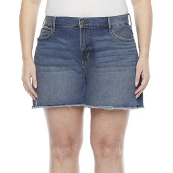 "a.n.a-Plus Womens 3.5"" High Rise Raw Hem Denim Short"