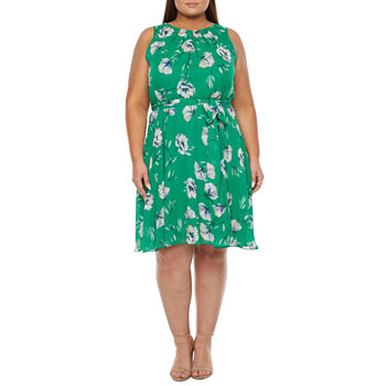 Jessica Howard-Plus Sleeveless Floral Fit & Flare Dress
