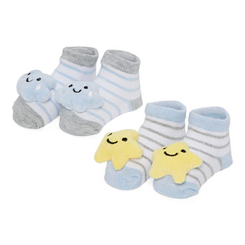 Piper & Jax Rattle Baby Boys 2 Pair Baby Booties