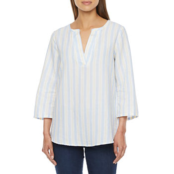 St. John's Bay Womens Split Crew Neck 3/4 Sleeve Blouse
