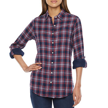 St. John's Bay Womens Long Sleeve Regular Fit Button-Down Shirt