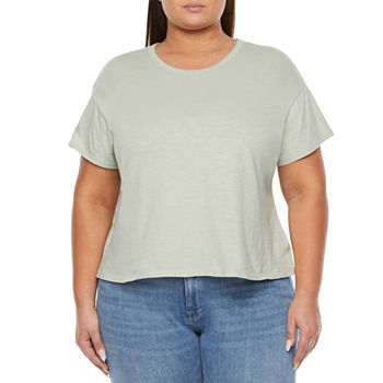 a.n.a Womens Plus Round Neck Short Sleeve T-Shirt