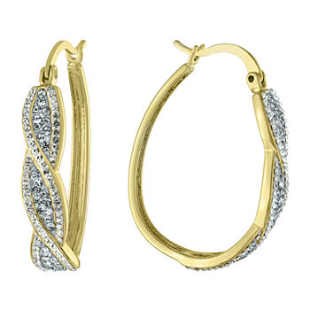 Sparkle Allure Crystal 14K Gold Over Brass Oval Hoop Earrings