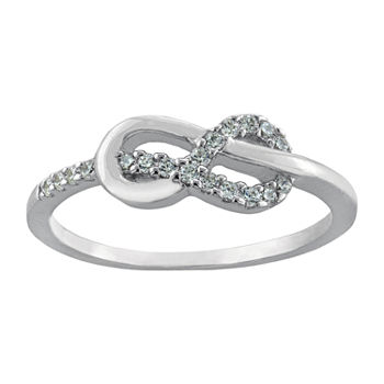 Silver Treasures Cubic Zirconia Sterling Silver Infinity Band