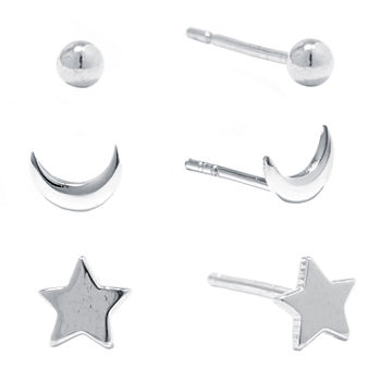 Silver Treasures 6 Pair Star Earring Set