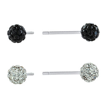 Silver Treasures 2 Pair Crystal Round Earring Set