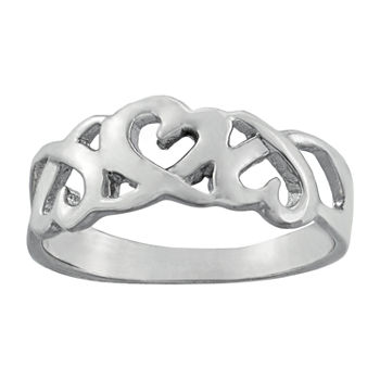 Silver Treasures Sterling Silver Heart Band
