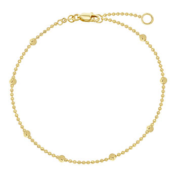 10K Gold 9 Inch Solid Cable Ankle Bracelet