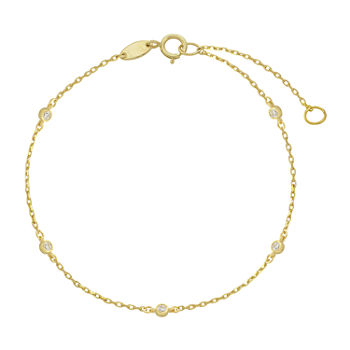 10K Gold 10 Inch Solid Cable Ankle Bracelet