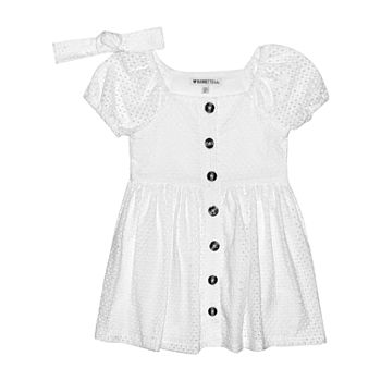Nannette Baby Toddler Girls Short Sleeve Eyelet A-Line Dress