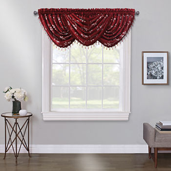 Maxx Blackout Mystique Embroidery Rod-Pocket Waterfall Valance