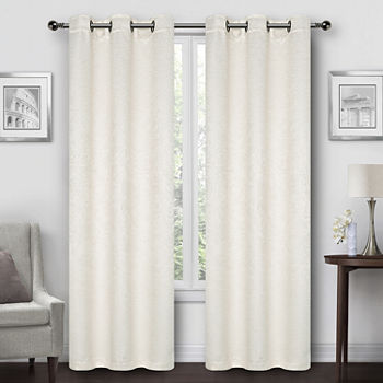 Regal Home Geo Embossed Lattice Energy Saving Blackout Grommet-Top Set of 2 Curtain Panel