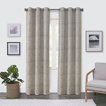 Regal Home Surfaces Ikat Damask Light-Filtering Grommet-Top Single Curtain Panel