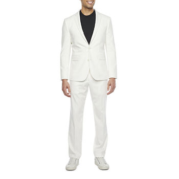 JF J. Ferrar Ultra Comfort Mens Stretch Ivory Slim Fit Suit Separates