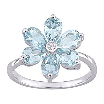 Womens Diamond Accent Genuine Blue Aquamarine 14K White Gold Flower Cocktail Ring