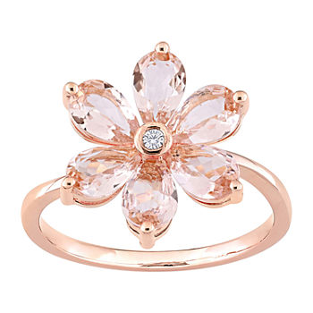 Womens Diamond Accent Genuine Pink Morganite 10K Rose Gold Flower Cocktail Ring