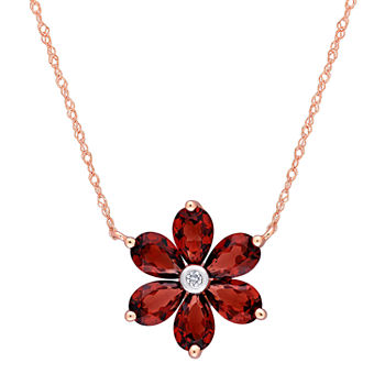 Womens Diamond Accent Genuine Red Garnet 10K Rose Gold Flower Pendant Necklace