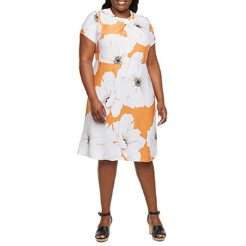 Liz Claiborne-Plus Short Sleeve Floral Fit & Flare Dress