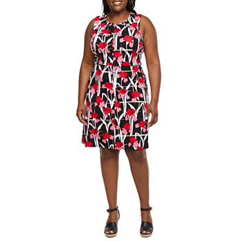 Liz Claiborne Sleeveless Floral A-Line Dress-Plus
