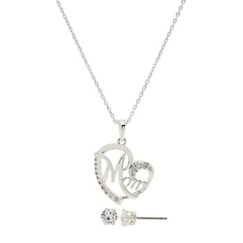 Sparkle Allure Mom 3-pc. Cubic Zirconia Pure Silver Over Brass Heart Jewelry Set