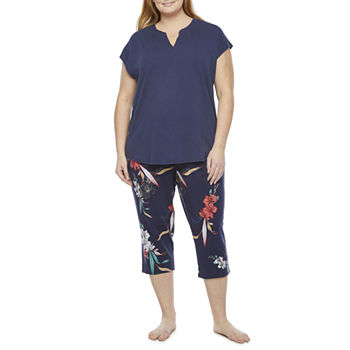Liz Claiborne Womens-Plus 2-pc. Capri Pajama Set Short Sleeve V-Neck