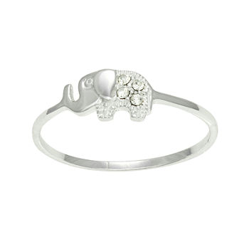 Itsy Bitsy Crystal Sterling Silver Elephant Ring