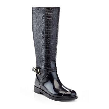 512423b86f49 Henry Ferrera Womens Shearling Rain Boots Water Resistant Flat Heel Zip.  Add To Cart. New. Black