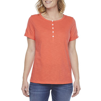 St. John's Bay-Tall Womens Round Neck Short Sleeve Henley Shirt