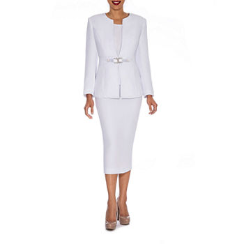 Giovanna Signature Women\'s Rhinestone Brooch 3-piece Skirt Suit- Plus