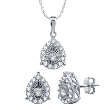 1 CT. T.W. Genuine White Diamond Sterling Silver Pear 2-pc. Jewelry Set
