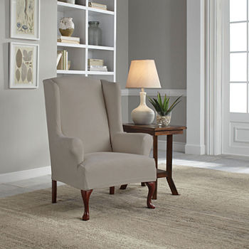 Superb Serta Reversible Microsuede Stretch Fit Wing Chair Slipcover Squirreltailoven Fun Painted Chair Ideas Images Squirreltailovenorg