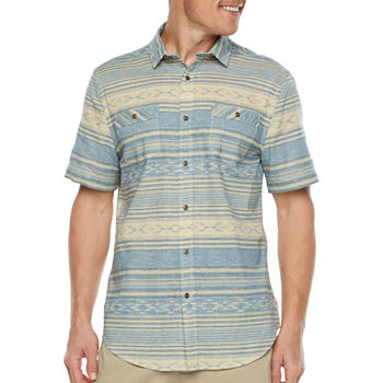 St. John's Bay Outdoor Mens Short Sleeve Southwest Button-Down Shirt