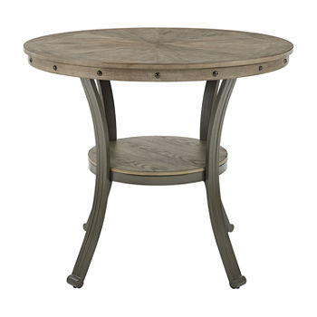Firview Collection Counter Height Round Wood-Top Dining Table