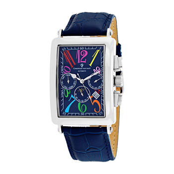 Christian Van Sant Mens Automatic Blue Leather Strap Watch-Cv9133