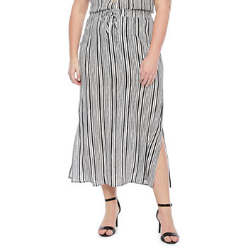 074bbaa190 Poetic Justice Curvy French Terry Knit Maxi Skirt. Add To Cart. Black  Stripe. $23.59